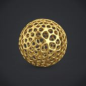 3d gold wireframe ball isolated on dark grey background. 3D rendering. Abstract golden decoration. poster