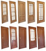 pic of wooden door  - Collection of wooden doors isolated on white - JPG