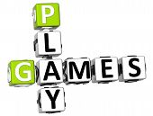 pic of video game  - 3D Play Games Crossword on white background - JPG