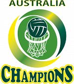 pic of netball  - illustration of a netball ball and net hoop with words Australia Champions - JPG