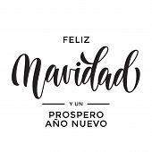 Merry Christmas And Happy New Year Feliz Navidad Y Prospero Ano Nuevo Hand Drawn Calligraphy Modern poster