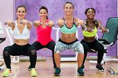 Beautiful athletic women doing squats while holding dumbbells with straight arms forward during func poster