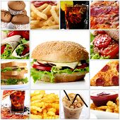 image of junk food  - Collage of different fast food products with big cheeseburger in center - JPG