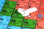 pic of arsenic  - open pill on a peridoic table  - JPG