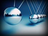 stock photo of newton  - newton cradle 3d ballancing balls fine background - JPG