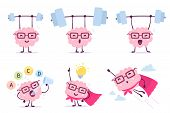Very Strong, Healthy And Smart Cartoon Brain Concept. Vector Set Of Illustration Of Pink Color Brain poster