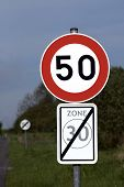 Speed limit roadsign.