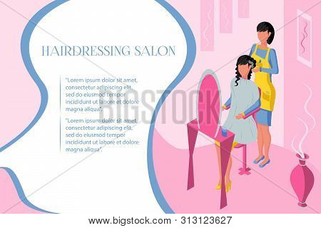 poster of Isometric Beauty Salon Andisometric Beauty Salon And Professional Hair Salon. Interior With Pink Bac