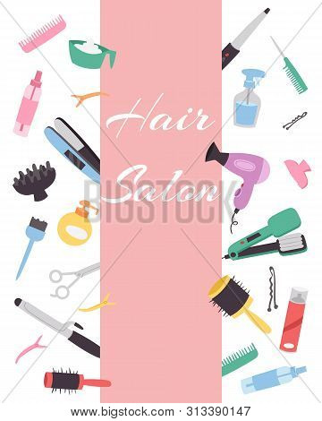 poster of Hairdresser Banner With A Set Of Various Combs, A Hair Dryer, Scissors For A Hairstyle. Hairdressing