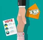 Voter And Politician Handshake. Voting Ballot And Envelope With Money. Selling Vote For Election. De poster