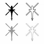 Helicopter Top View Battle Helicopter Icon Outline Set Black Grey Color Image poster