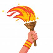 Hand With Flaming Torch. Sports Concept Victory. Winner Holding Olympic Wooden Torch In Hand. Vector poster