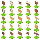 Signboard Icons Set. Isometric Set Of 25 Signboard Icons For Web Isolated On White Background poster