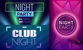 Nightclub Banner Set. Cartoon Illustration Of Nightclub Banner Set For Web Design poster