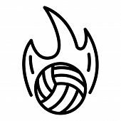 Volleyball Ball On Fire Icon. Outline Volleyball Ball On Fire Icon For Web Design Isolated On White  poster