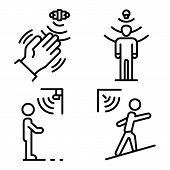 Motion Sensor Icons Set. Outline Set Of Motion Sensor Icons For Web Design Isolated On White Backgro poster