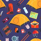 Expedition Equipment Seamless Pattern, Camping And Mountaineering Accessories, Design Element Can Be poster