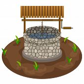 Well For Farm Scene Design. Clip Art To  Use In Cartoon Or Farm Game Asset. Village Well With Water, poster