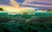 Plastic Pollution In Marine Environmental Problems Animals In The Sea Cannot Live. And Cause Plastic poster