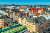 Panoramic View Of Helsinki Old City Center.   Colorful Historic Buildings In The Traditional Scandin poster