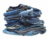picture of hackney  - stack of blue denim clothes on white background - JPG