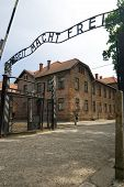 stock photo of auschwitz  - Main Entrance to Concentration Camp in Auschwitz Poland - JPG