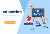 Concept For Education, Online Learning, Back To School. Education And Learning Banner Flat Design Te poster