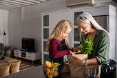 Grandmother and her granddaughter holding grocery shopping bag with vegetables at home. Happy old gr poster