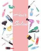Hairdresser Banner With A Set Of Various Combs, A Hair Dryer, Scissors For A Hairstyle. Hairdressing poster
