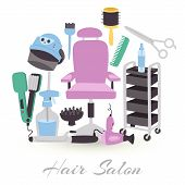 Hairdresser Equipment Tools. Fashion Illustration With Hair Salon And Hairdressing Tools . Collectio poster