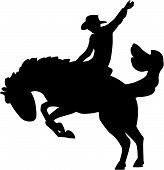 pic of bucking bronco  - Vector illustration of a rodeo wrangler riding a horse - JPG