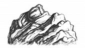 Summit Of Mountain Landscape Hand Drawn Vector. High Altitude Mountain Rock Peak Quiet Place For Ext poster