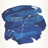 Scorpio Hand Drawn Zodiac Sign Constellation Over Blue Paint Strokes. Vector Graphics Astrology Illu poster