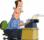 image of scribes  - Man typing on a typewriter vector illustration - JPG
