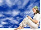 Girl Reading A Book - Sky Background poster