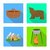 Isolated Object Of Tourism And Excursions Icon. Set Of Tourism And Rest Stock Vector Illustration. poster