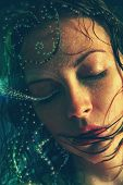 picture of mermaid  - Wet woman portrait with water drops on the face - JPG