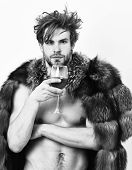 Guy Attractive Rich Posing Fur Coat On Naked Body. Rich Athlete Enjoy His Life. Sexy Sleepy Rich Mac poster