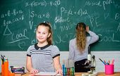 Smart And Confident. Little Girls In School Lab. Chemistry Education. Biology Lesson. Science Experi poster