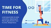 Athlete In Sportswear Engaged In Fitness Room. Time For Fitness. Do Sport. White Text Ob Blue Backgr poster
