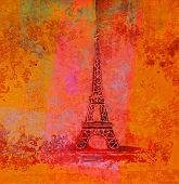 Постер, плакат: Винтажные ретро Eiffel в Париж карты растровые