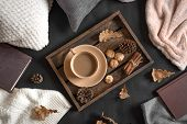Autumn Coziness Concept. Seasonal Autumnal Composition With Soft Plaid, Coffee And Book. Cozy Home A poster