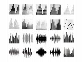 Black Sound Waves. Music Audio Frequency, Voice Line Waveform, Electronic Radio Signal, Volume Level poster