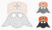 Mesh Nurse Head Model With Triangle Mosaic Icon. Wire Frame Polygonal Mesh Of Nurse Head. Vector Mos poster
