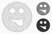 Mesh Tongue Smiley Model With Triangle Mosaic Icon. Wire Carcass Polygonal Mesh Of Tongue Smiley. Ve poster