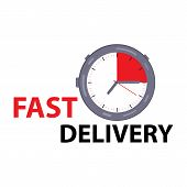 Express Delivery With A Stopwatch In The Style Of Flat. Express Delivery Icon.  Fast Delivery, Expre poster