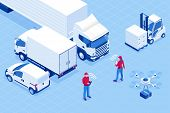 Isometric Online Express, Free, Fast Delivery, Shipping Concept. Checking Delivery Service App On A  poster