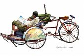 picture of peddlers  - trishaw peddler reading newspaper in watercolor fine art painting - JPG