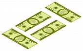 Isometric Of Money Icons. Dollar Currency Banknote Green. Dollars Bill, Money Banknote. Isometric Bu poster