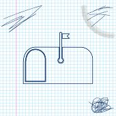 Mail Box Line Sketch Icon Isolated On White Background. Mailbox Icon. Mail Postbox On Pole With Flag poster